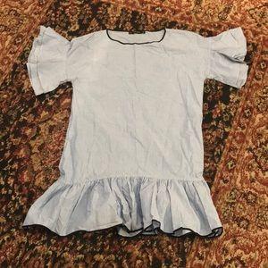 Zara Basic denim pin stripe smock ruffle dress